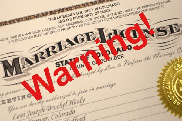 Should A Marriage License Come With Warnings?